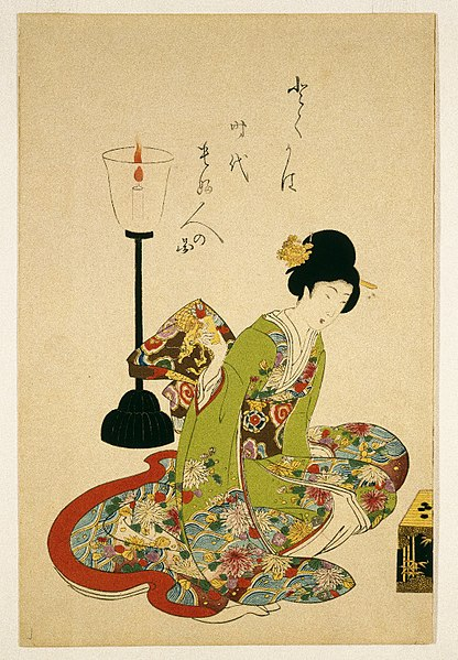 416px-Brooklyn_Museum_-_A_Seated_Woman_with_a_Lacquer_Candle_Stand_-_Toyohara_Chikanobu