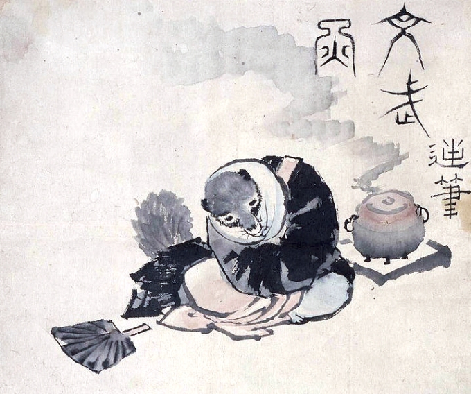 Hokusai_tea-kettle_raccoon